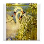 SWANS, Vintage art Print Tile Coaster