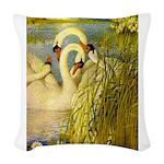 SWANS, Vintage art Print Woven Throw Pillow