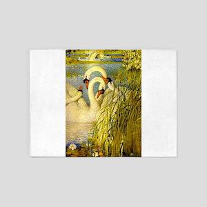 SWANS, Vintage art Print 5'x7'Area Rug