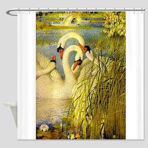 SWANS, Vintage art Print Shower Curtain