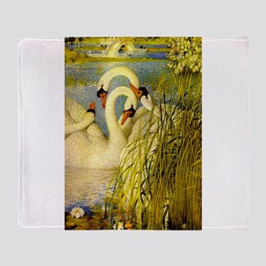 SWANS, Vintage art Print Throw Blanket