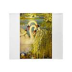 SWANS, Vintage art Print Throw Blanket
