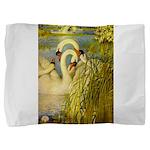 SWANS, Vintage art Print Pillow Sham