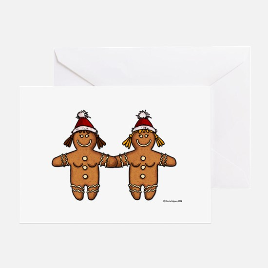 lesbian gingerbreads Greeting Cards