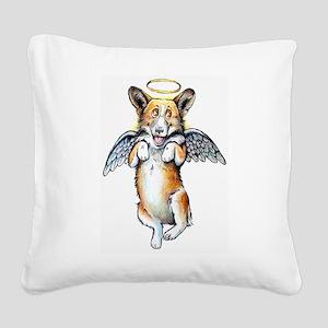 Corgi Angel Square Canvas Pillow