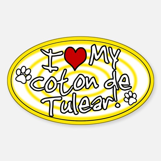 Hypno I Love My Coton De Tulear Oval Sticker Ylw