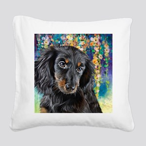 Dachshund Painting Square Canvas Pillow