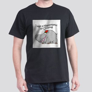Christmas Hippo BW Dark T-Shirt