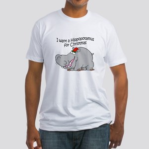 Christmas Hippo BW Fitted T-Shirt
