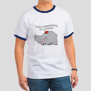 Christmas Hippo BW Ringer T
