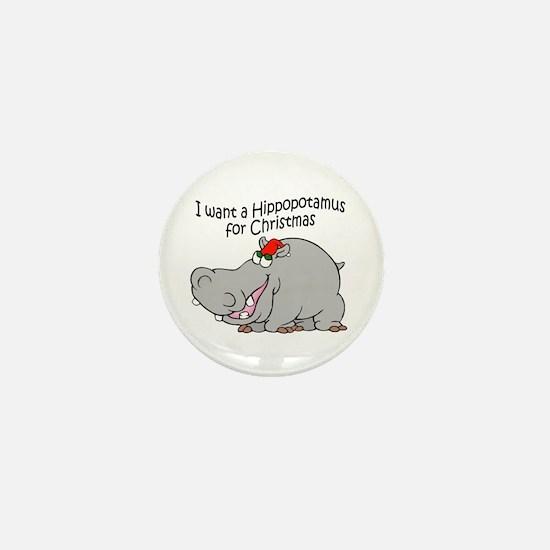 Christmas Hippo BW Mini Button