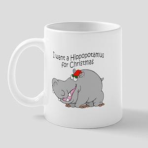 Christmas Hippo BW Mug
