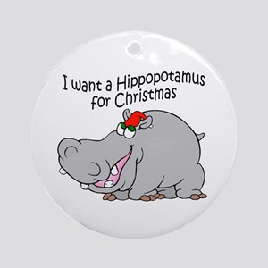 Christmas Hippo BW Ornament (Round)