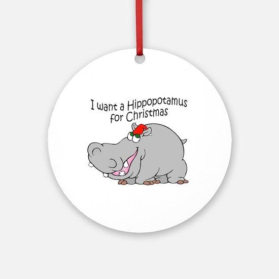 Christmas Hippo BW Ornament (Round)