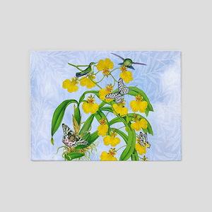Oncidium Orchids, Hummingbirds, B'f 5'x7'Area Rug