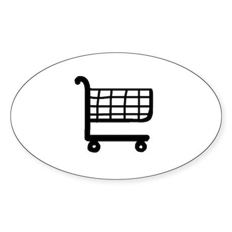 Shopping Cart Oval Sticker