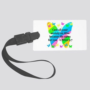 1 PETER 5:7 Large Luggage Tag
