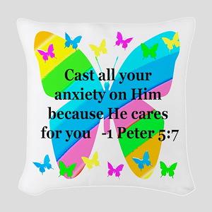 1 PETER 5:7 Woven Throw Pillow