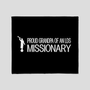LDS: Proud Missionary Grandpa (Black Throw Blanket