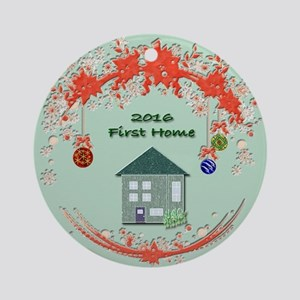 First Home Dated Ornament or Tile Round Ornament