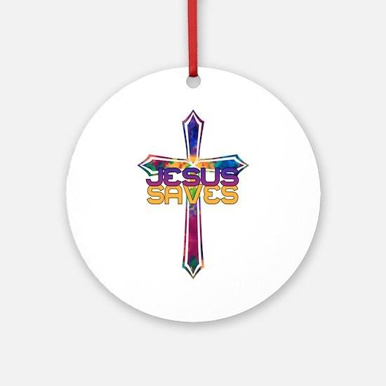 Jesus Saves Round Ornament