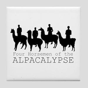 Four Horsemen of Alpacalypse Tile Coaster