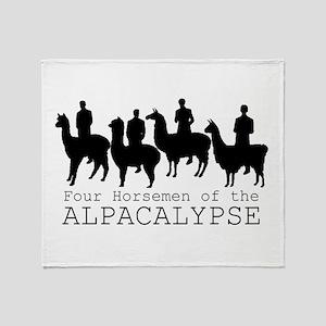 Four Horsemen of Alpacalypse Throw Blanket