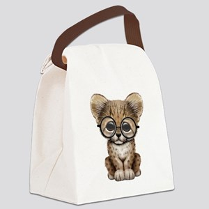 Cute Cheetah Cub Wearing Glasses Canvas Lunch Bag