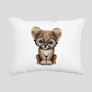 Cute Cheetah Cub Wearing Glasses Rectangular Canva