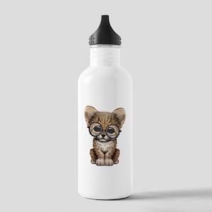 Cute Cheetah Cub Wearing Glasses Water Bottle