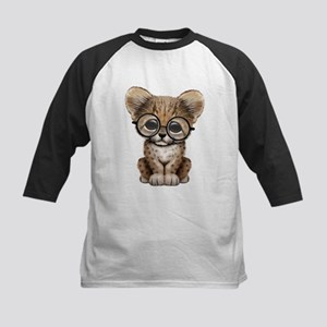 Cute Cheetah Cub Wearing Glasses Baseball Jersey