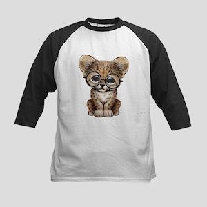 Cute Cheetah Cub Wearing Glasses Baseball Jersey