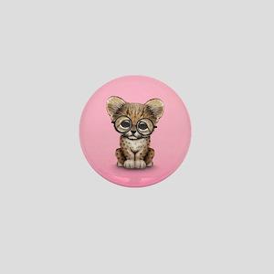 Cute Cheetah Cub Wearing Glasses Mini Button