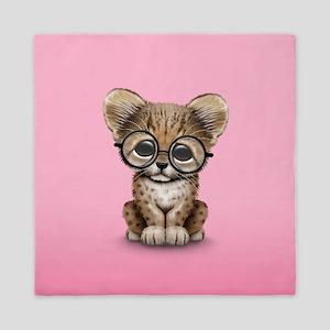 Cute Cheetah Cub Wearing Glasses Queen Duvet