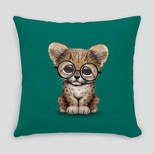 Cute Cheetah Cub Wearing Glasses Everyday Pillow
