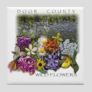 Door County Wildflowers Tile Coaster