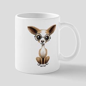 Cute Curious Chihuahua Wearing Eye Glasses Mugs