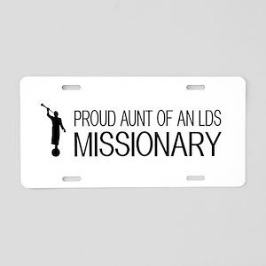 LDS: Proud Missionary Aunt Aluminum License Plate