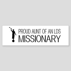 LDS: Proud Missionary Aunt (White Sticker (Bumper)
