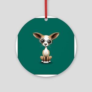 Cute Curious Chihuahua Wearing Eye Glasses Round O