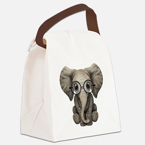 Cute Baby Elephant Calf with Reading Glasses Canva