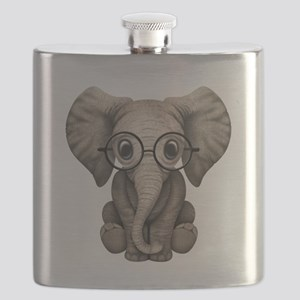 Cute Baby Elephant Calf with Reading Glasses Flask