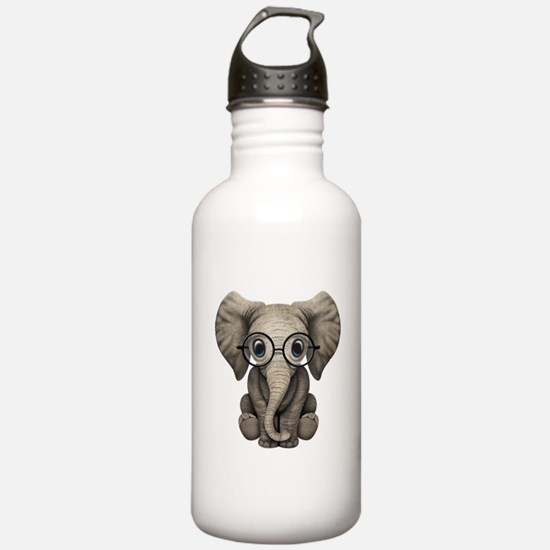 Cute Baby Elephant Calf with Reading Glasses Water