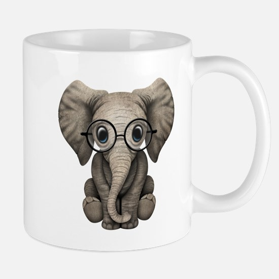 Cute Baby Elephant Calf with Reading Glasses Mugs