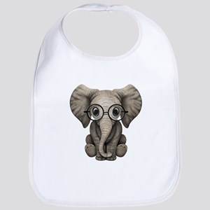 Cute Baby Elephant Calf with Reading Glasses Bib