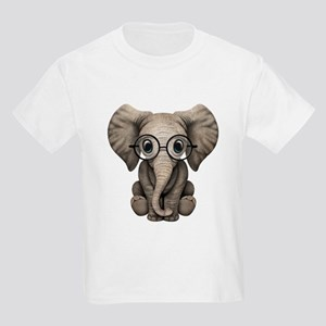 8d0c1516ffa629 Cute Baby Elephant Calf with Reading Glasses T-Shi