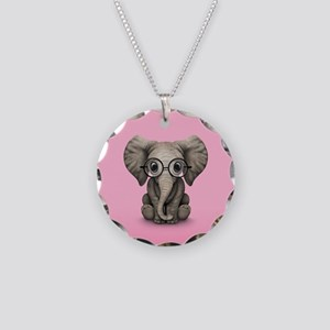 Cute Baby Elephant Calf with Reading Glasses Neckl
