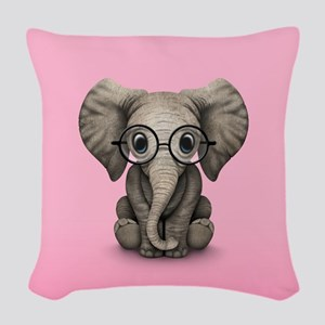 Cute Baby Elephant Calf with Reading Glasses Woven