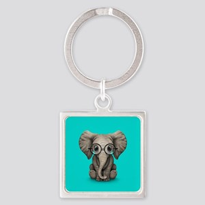 Cute Baby Elephant Calf with Reading Glasses Keych