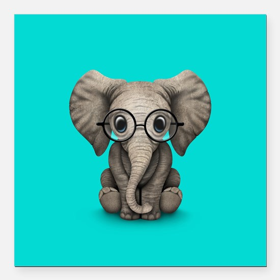 Cute Baby Elephant Calf with Reading Glasses Squar